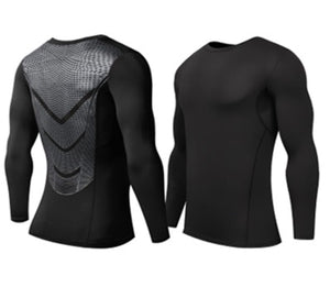 A - Hyperlight Pro Combat Long Sleeve Top Compression Tights (SILVER)