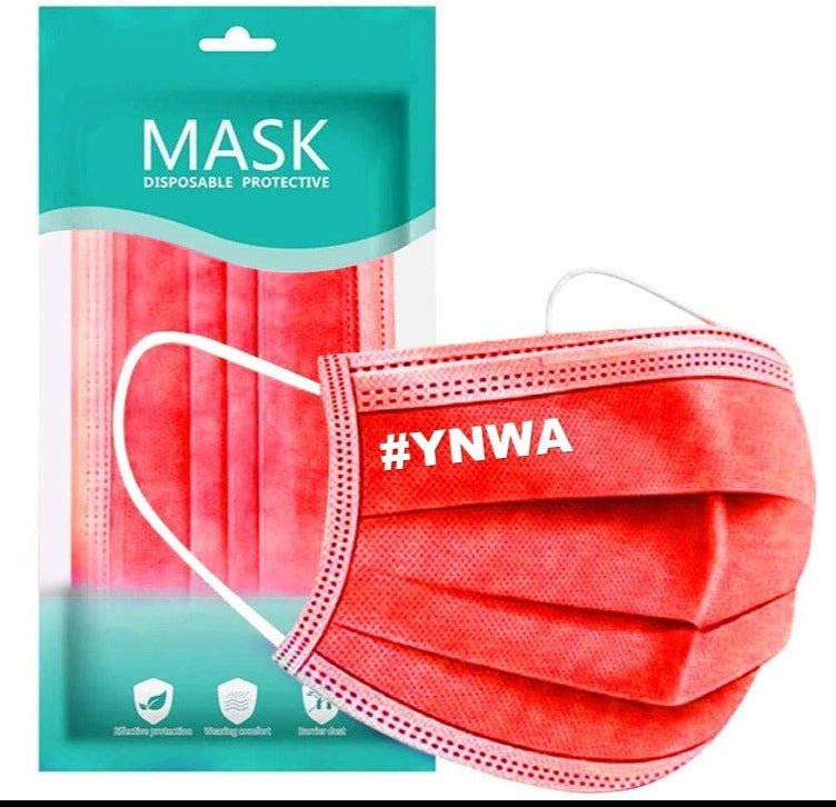 #YNWA 3 ply Adult Face Mask (Red)