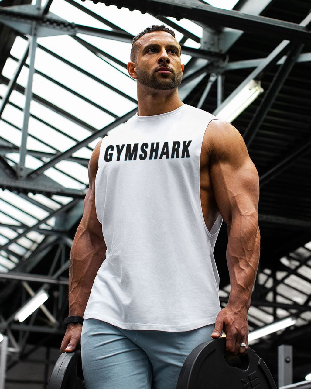Shark Fitness Singlet (White)