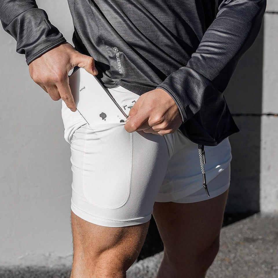 Qualifier 2-in-1 Shorts (White) MUST HAVE ITEM