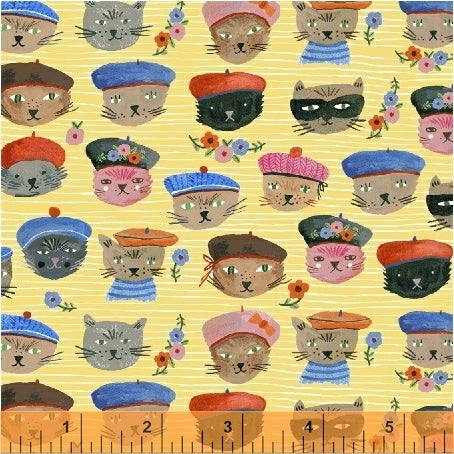 Cool Cats Yellow - Ooh La La - Windham Fabrics - Organic Cotton - Poplin
