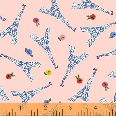 Eiffel Tower Pink - Ooh La La - Windham Fabrics - Organic Cotton - Poplin
