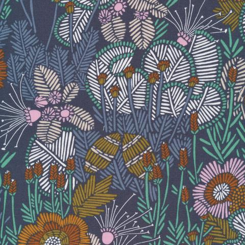 Embroidered Floral - Grasslands - Cloud9 Fabrics - Organic Cotton - Poplin