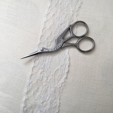 Sale - Antique Style Stork Embroidery Scissors - Stainless Steel - 4.5 Inches - Vintage Style