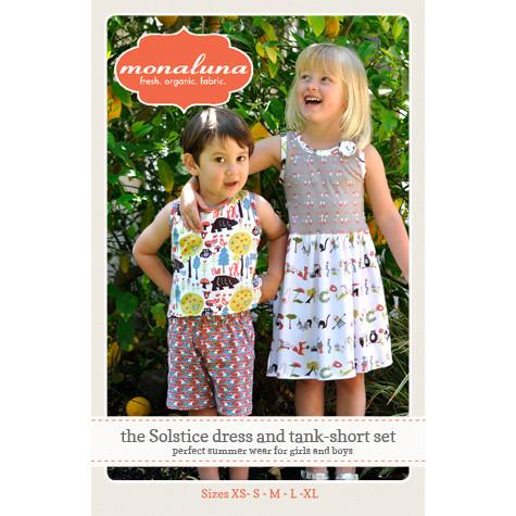 Kids' Solstice Dress And Short Set Paper Pattern - Intermediate - 2T - 13/14 - Monaluna