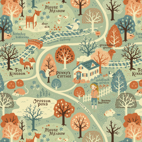 Acorn Trail Map - Best of Teagan White - Birch Fabrics - Organic Cotton - Poplin