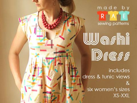 Women's Tunic Paper Pattern - Intermediate - Washi Dress - XS, S, M, L, XL, XXL - 2XL - Made by Rae