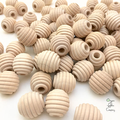 "1"" Diameter - Natural Maple Wood Honeycomb Textured Beads - Untreated"