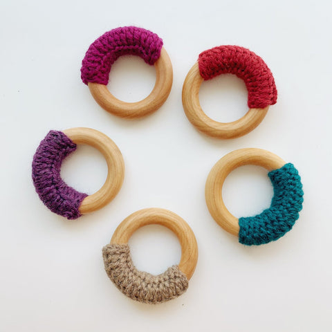 "Natural Vegan 2.5"" Maple Wood and Wool Baby Ring - Psalm Baby Co. - American Made - Montessori Toy - CPSIA Compliant - Breastfeeding"
