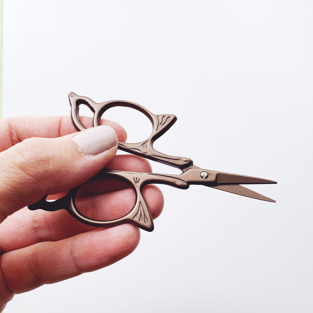 Butterfly Antique Style Embroidery Scissors - Stainless Steel - 3.7 Inches - Vintage Style - Chocolate Bronze
