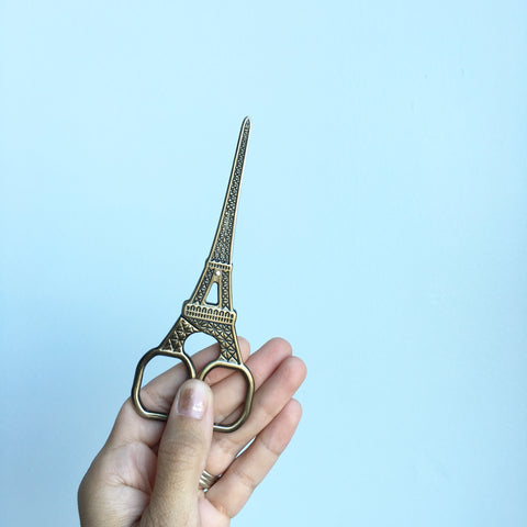 Eiffel Tower Embroidery Scissors - Antiqued Gold Colored - 5.6 Inches - Vintage Style