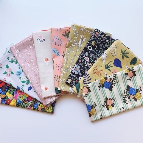 Wildflowers 2 Fat Quarter Bundle - Organic Poplin - Quilt Kit - Quilting Cotton 9pc set
