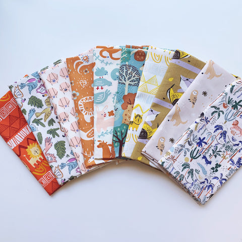 Wild and Free Fat Quarter Bundle - Organic Poplin - Quilt Kit - Quilting Cotton 10pc set