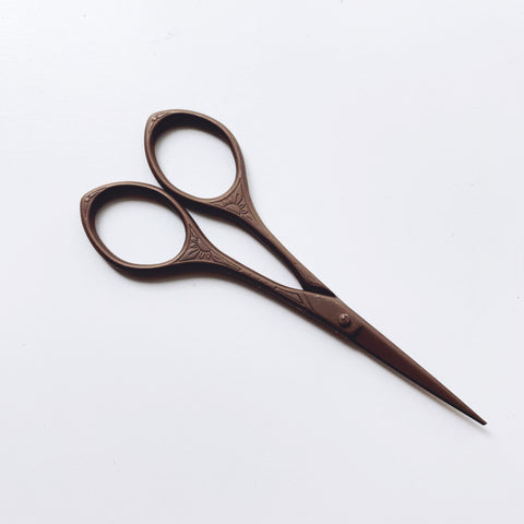 Sunflower Antique Style Embroidery Scissors - Stainless Steel - 4 Inches - Vintage Style Chocolate Bronze