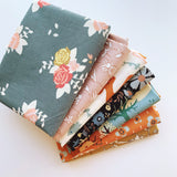 Autumn Bloom Fat Quarter Bundle - Organic Poplin - Quilt Kit - Quilting Cotton 7pc set