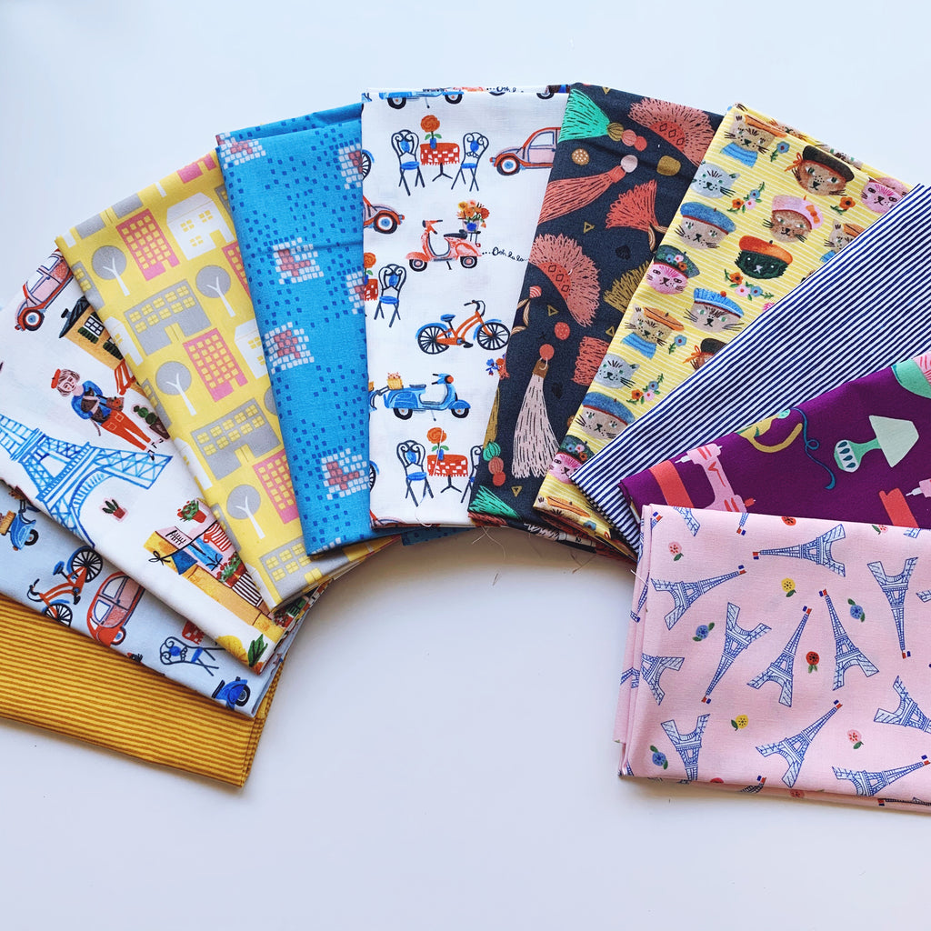 Chats à Paris Fat Quarter Bundle - Organic Poplin - Quilt Kit - Quilting Cotton 11pc set