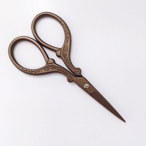 Antique Style Embroidery Scissors - Stainless Steel - 3.7 Inches - Vintage Style Chocolate Brown