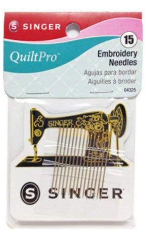 15 Gold Eye Embroidery Needles with Collectable Magnet Singer