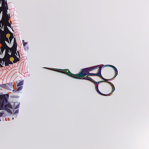 Antique Style Stork Embroidery Scissors - Stainless Steel - 4.5 Inches - Vintage Style Rainbow Case Hardened Colored