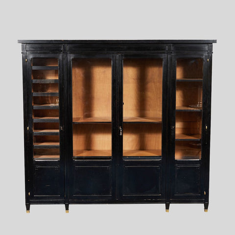 AN EBONZIED BLACK OAK BOOKCASE WITH THE ORIGINAL BRASS CAPPED HINGES - France, 1880