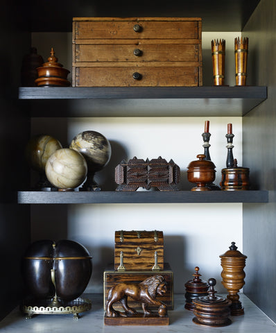 Display of antique objects from Lee Stanton's home