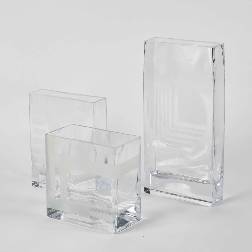 GLASS ETCHED VASES