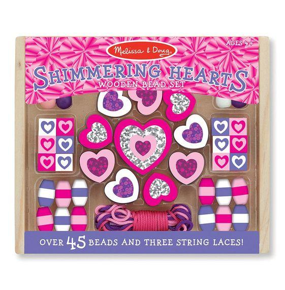 SGIMMERING HEARTS WOODEN BEAD SET