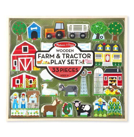 Farm & Tractor Play Set - MELISSA AND DOUG - JUEGO DE MADERA DE GRANJA Y TRACTOR