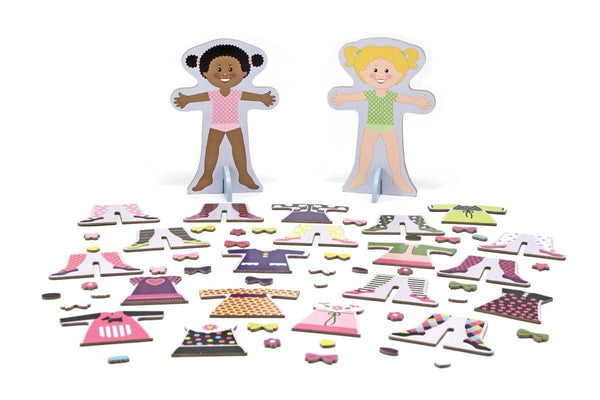 Muñecas magnéticas de madera para vestir - Melissa and Doug - Magnetic Wooden Dress-Up Dolls