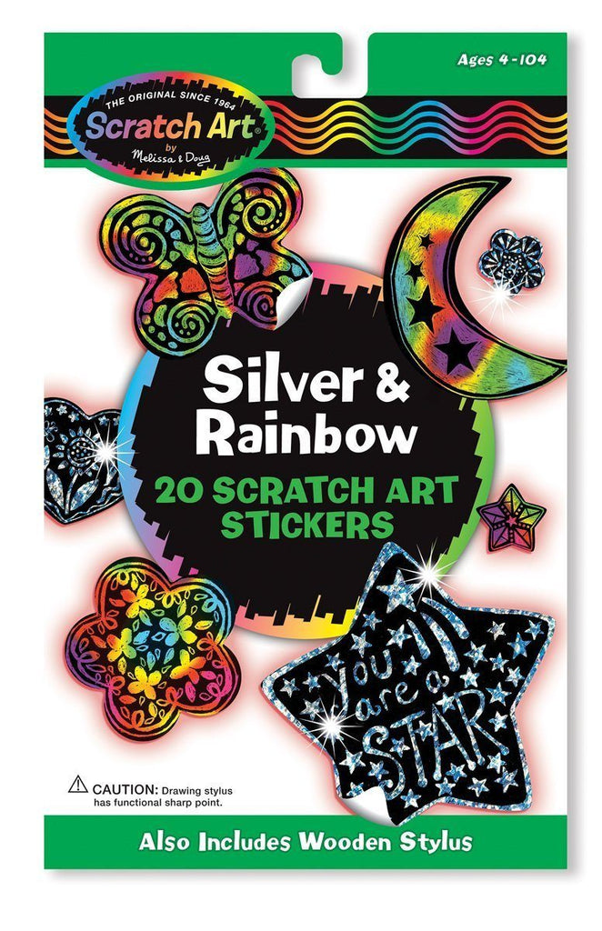 Stickers plateados y arcoiris Scratch Art -Melissa & Doug- Scratch Art Silver and Rainbow Stickers