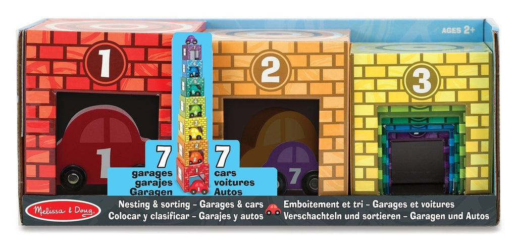 Colocar y clasificar, garajes y autos - Melissa and Doug - Nesting & Sorting Garages & Cars