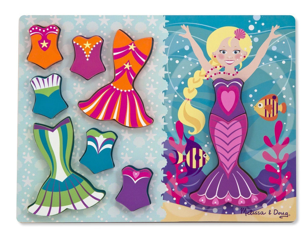 Rompecabezas con sirenita para vestir - Melissa & Doug - Mermaid dress up chunky puzzle