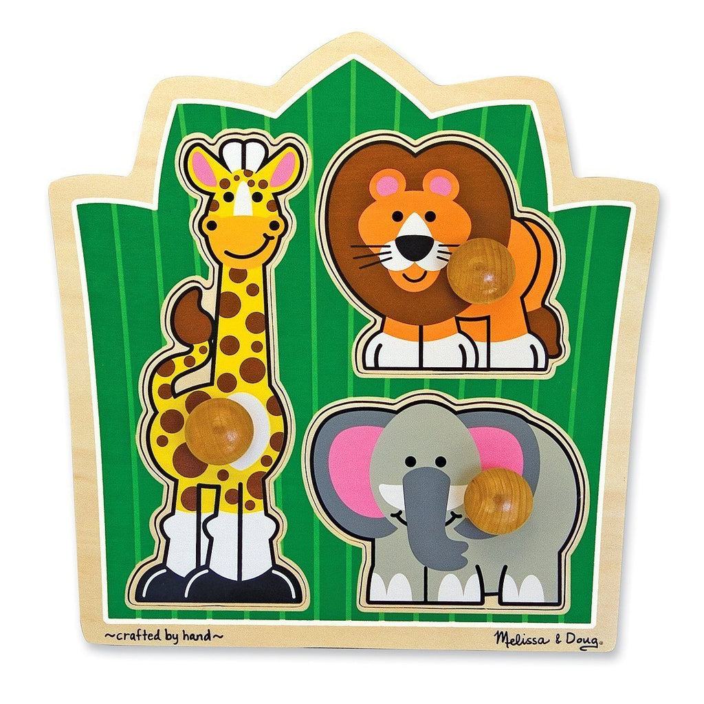 Rompecabezas con clavijas grandes - Melissa & Doug - Jungle friends large peg puzzle