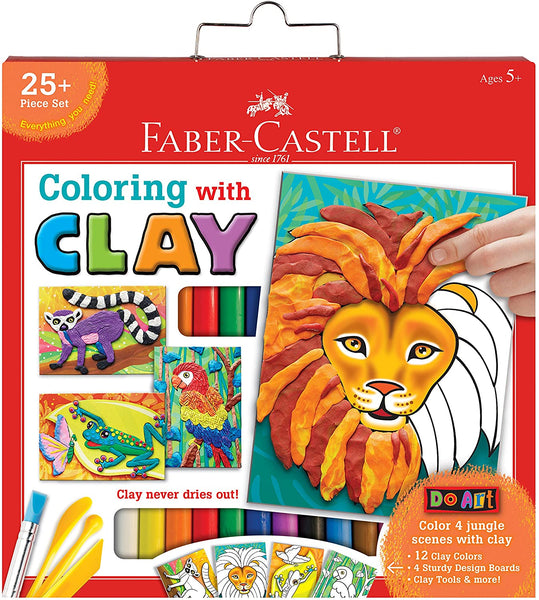 COLOREA CON PLASTILINA AL LEON - FABER CASTELL - DO ART COLORING WITH CLAY LION