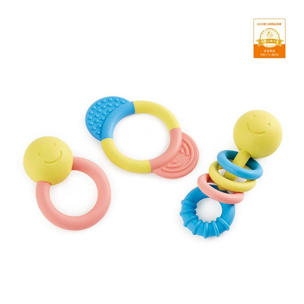 COLECCION DE SONAJERO Y MORDEDOR -HAPE - RATTLE & TEETHER COLLECTION