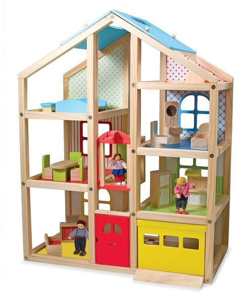 Casa alta de muñecas de madera - Hi-Rise Wooden Dollhouse and Furniture Set - Melissa & Doug