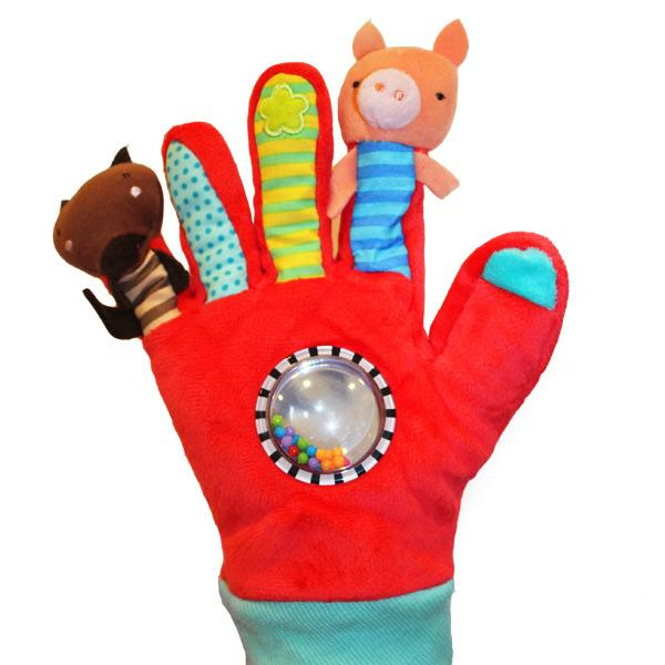 GUANTE CON MARIONETAS DE DEDO ROJO - EUREKAKIDS - RED GLOVE WITH PRINTED CARD