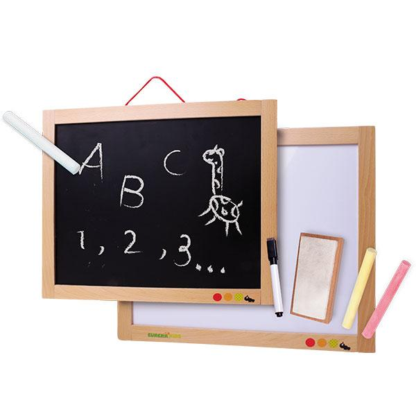 PIZARRA DE PARED TRIPLE USO - EUREKAKIDS - MAGNETIC AND CHALK BOARD