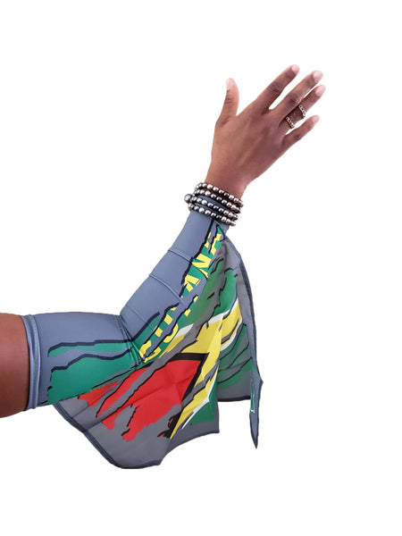 GUYANA CAMOUFLAGE ARM WAVE ARM and LEG FLAG (ARM SLEEVE, BAND) new WEARABLE FLAGS for CARNIVAL