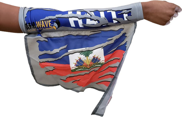 HAITI CAMOUFLAGE ARM WAVE LEG FLAG (ARM SLEEVE, BAND) new WEARABLE FLAGS for CARNIVAL