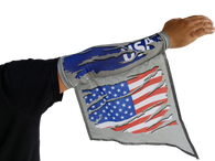 USA REFLECTIVE ARM and LEG FLAG, wearable flags that reflect light