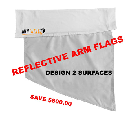 Custom order Arm Wave Sleeves to promote your brand, school or team. The Arm Sleeve with an attached piece (banner like) fabric under the under part of the arm sleeve for promoting and advertising.