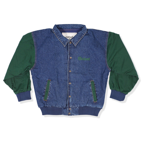 Outset Denim Varsity Jacket - Green