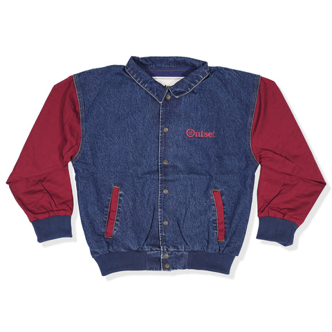 Outset Denim Varsity Jacket - Maroon