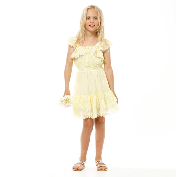ROSIE EMBROIDERED DRESS (LEMON)
