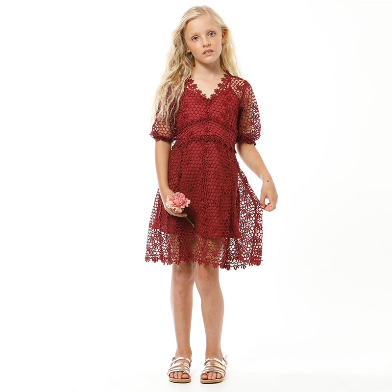 CHLOE LACE DRESS (BURGUNDY)