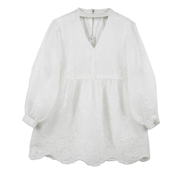 Campbell Lace Mini Dress (Ivory)