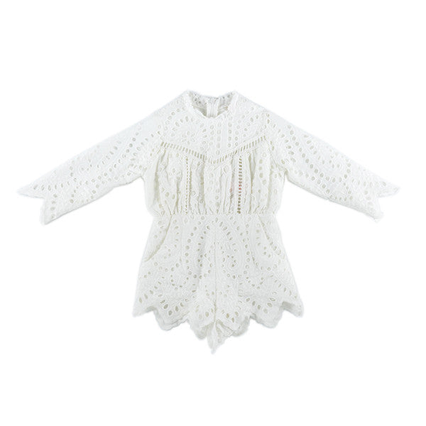 Cotton Embroidered Romper (Ivory)