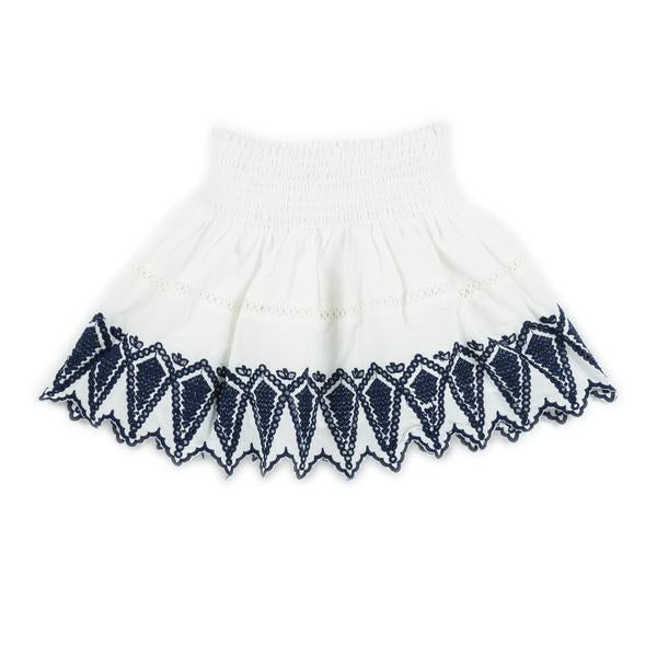 Blazing Embroidered Skirt (Ivory/Navy)