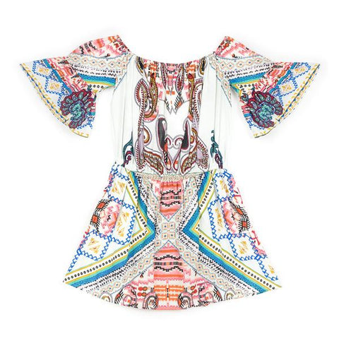 Aztec Off Shoulder Dress